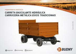 CARRETA BASCULANTE HIDRÁULICA CARROCERIA METÁLICA EIXOS TRADICIONAIS 6T BUDNY (CBHMTB)